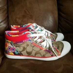 """Coach Sneakers """"ZOE"""" size 6.5 Signature Colors  D1"""